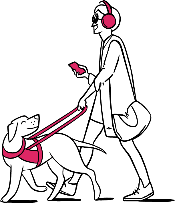 A person walking a dog with an assistive leash, a phone in hand, and wearing headphones.