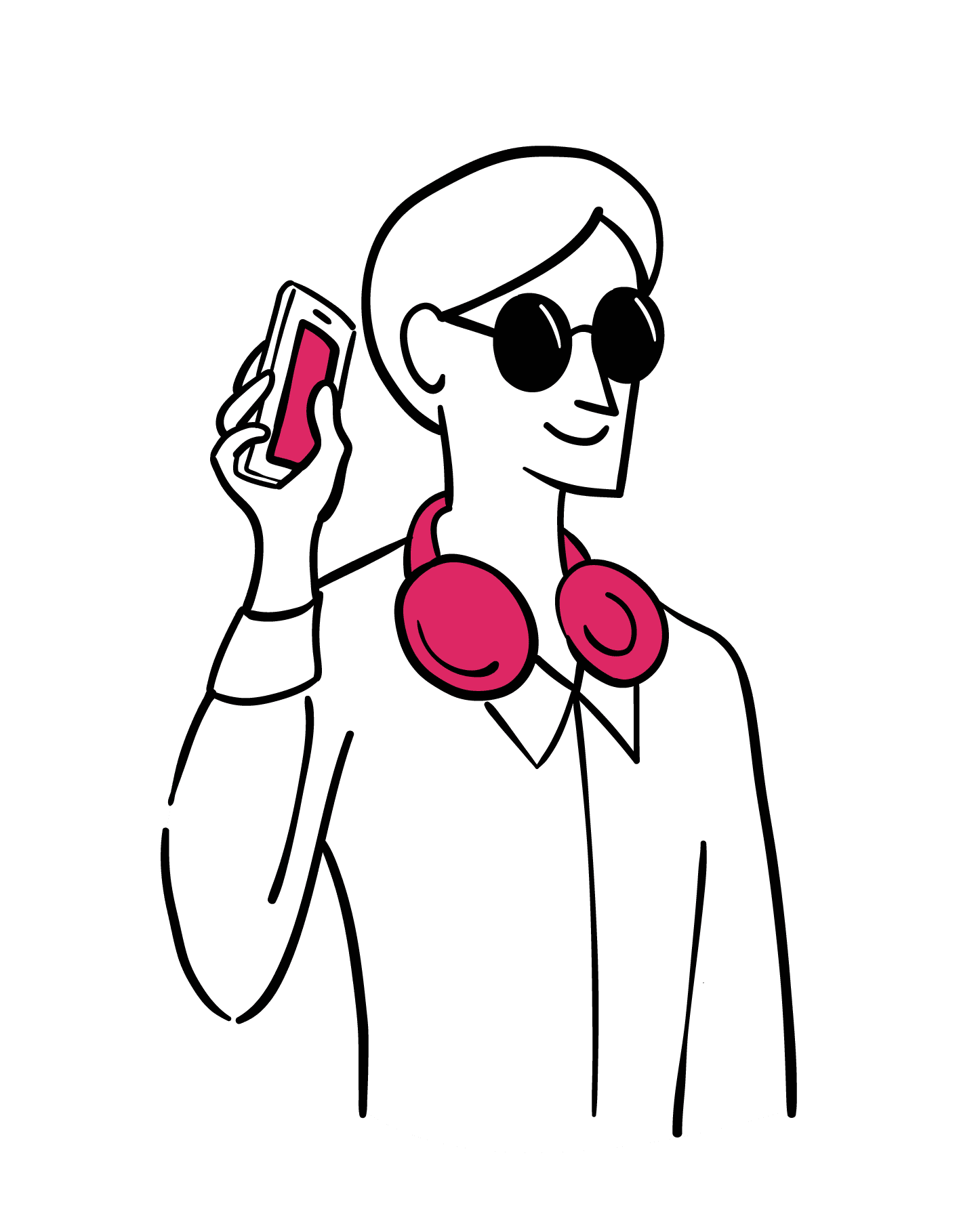 Illustration: Woman with short hair and sunglasses holds phone next to her ear as she swipes to listen to a screen reader