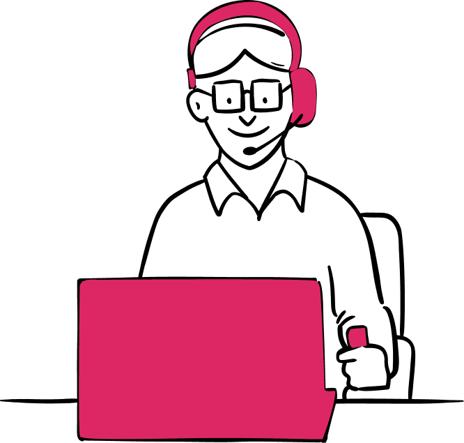 Illustration: Person using a laptop and headset