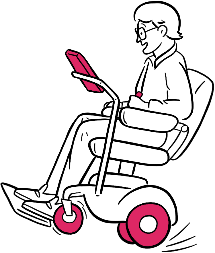 Man in powered wheelchair doing a wheely, smiling